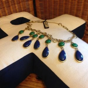 Ann Taylor NWT deep blue & green teardrop necklace